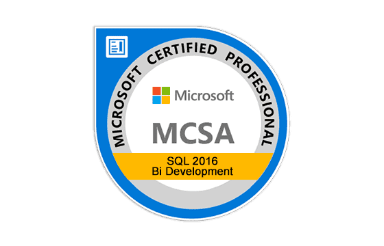 MCSA: SQL 2016 BI Development Exams